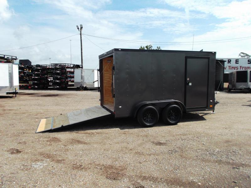 2019 Covered Wagon Trailers 7x12 Tandem Axle Motorcycle Trailer / Cargo Trailer / Charcoal / Black Out Package / Ramp / LEDs