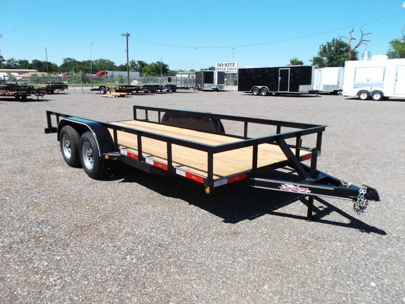 2019 Longhorn Trailers 16ft Tandem Axle Utility Trailer w/ 5ft Stow Away Ramps / Electric Brakes