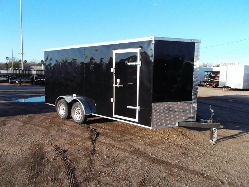 "SPECIAL - 2019 Texas Select 7x16 Tandem Axle Cargo Trailer / Enclosed Trailer / Ramp / 6'6"" Interior / Side Door / LEDs"