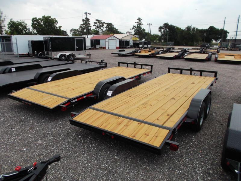 2019 Longhorn Trailers 20ft Tandem Axle 10K Car Hauler / Racing Trailer / Flat Deck / 5200# Axles / 2ft Dovetail / 5ft Ramps