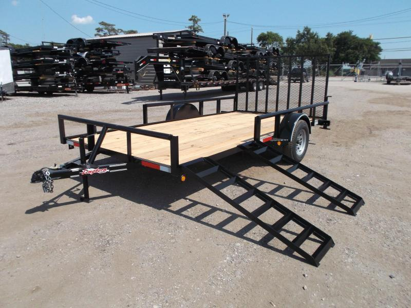 2019 Longhorn Trailers 83x14 Single Axle Utility Trailer w/ Pipetop / 4ft Heavy Duty Rear Ramp / 5ft Side Load Ramps