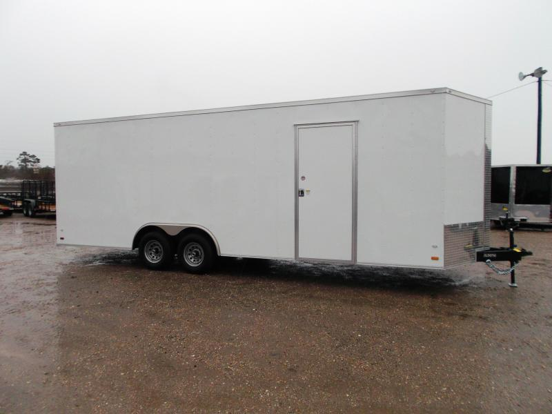 2019 Covered Wagon Cargo 8.5x24 Tandem Axle Cargo Trailer / Car Hauler w/ 7ft Interior / 5200# Axles / Heavy Duty Ramp / RV Side Door / LEDs