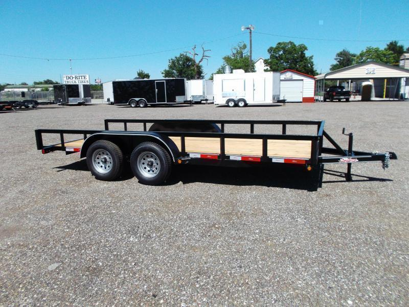2018 Longhorn Trailers 16ft Tandem Axle Utility Trailer w/ 5ft Stow Away Ramps / Electric Brakes