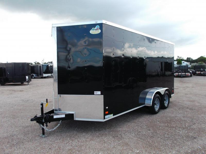2018 Covered Wagon Trailers 7x16 Tandem Axle Cargo Trailer / Enclosed Trailer w/ 7ft Interior / Ramp