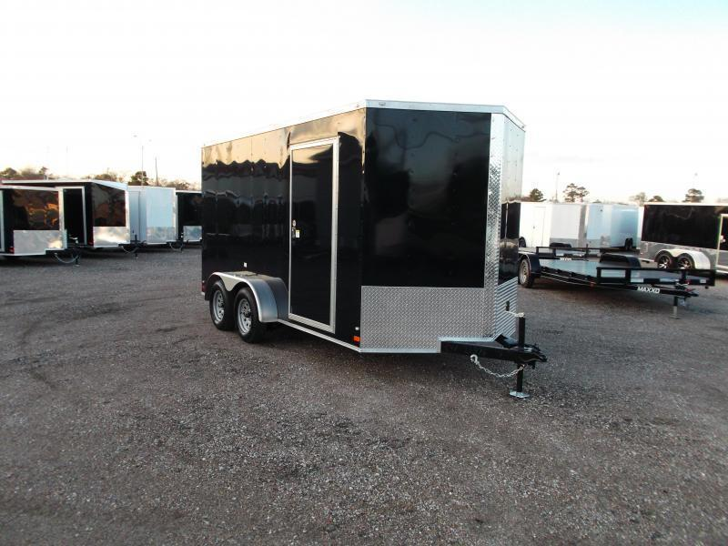 "2019 Covered Wagon Trailers 7x14 Tandem Axle Cargo Trailer / Enclosed Trailer / 7'6"" Interior / Ramp / LEDs"