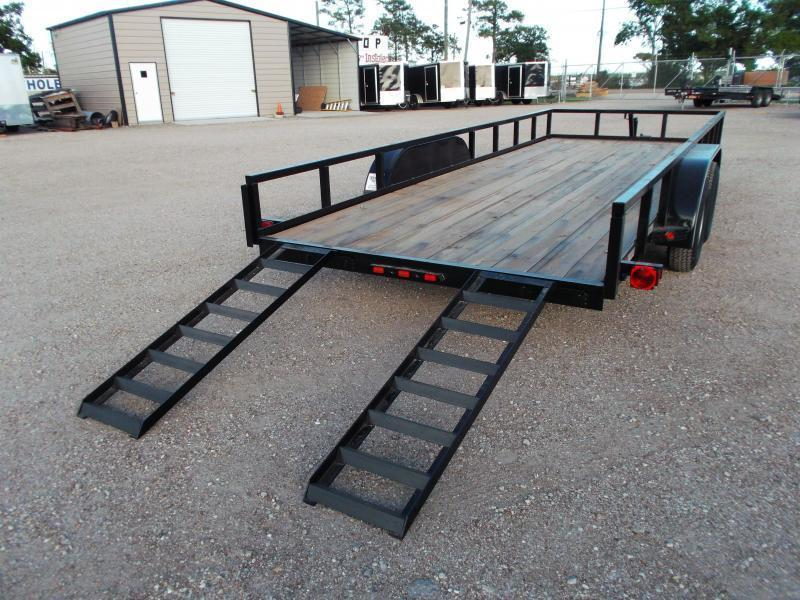 """2018 Longhorn Trailers 83x20 Utility Trailer w/ 2"""" Square Tubing / 5ft Ramps / Brakes"""