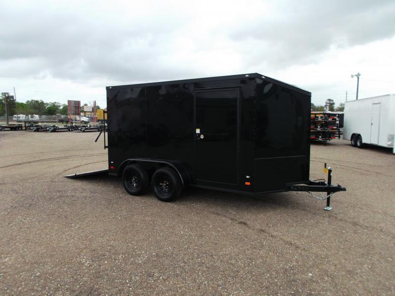 2018 Covered Wagon Trailers 7x12 Tandem Axle Motorcycle Trailer / Cargo Trailer w/ Black Out Package / Slant V-Nose / Ramp