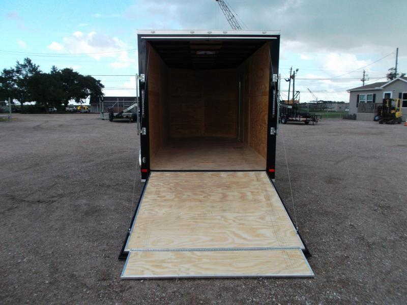 2019 Covered Wagon Trailers 7x16 Tandem Axle Cargo Trailer / Enclosed Trailer / Black Out Package / Ramp / RV Door / LEDs