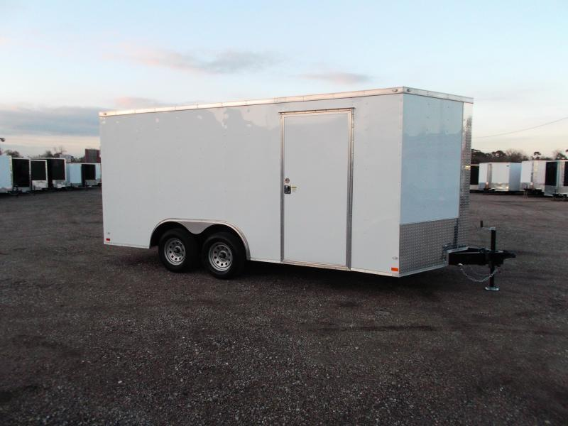 2019 Covered Wagon 8.5x16 Tandem Axle Cargo Trailer / Car Hauler / Ramp / RV Door / LEDs