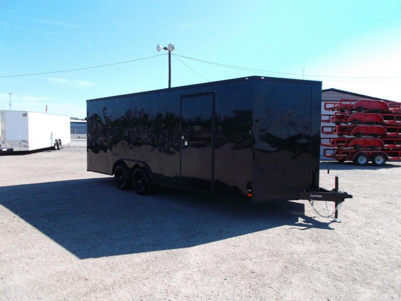 2019 Covered Wagon Trailers 8.5x20 Blacked Out Tandem Axle Cargo / Enclosed Trailer / Car Hauler / 5200# Axles / 7ft Interior / Ramp / RV Door / LEDs