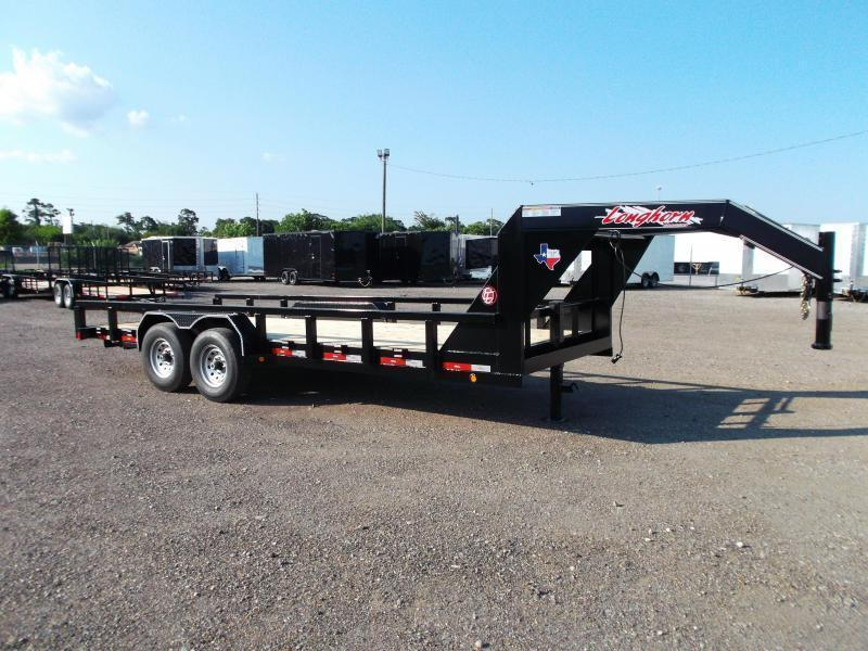 "2019 Longhorn Trailers 83x20 Gooseneck Utility Trailer w/ 7000# Axles / 3"" Square Tubing / 5ft Ramps"