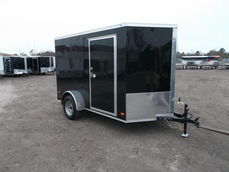 2018 Covered Wagon Trailers 6x10 Single Axle Cargo / Enclosed Trailer / V-Nose / Ramp Gate / RV Side Door / LEDs