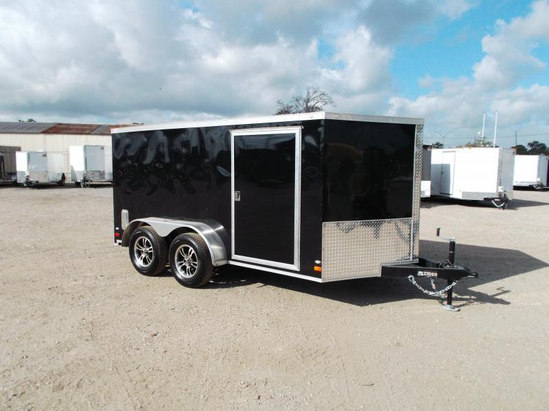 2019 Covered Wagon Trailers 7x12 Tandem Axle Low Profile Motorcycle Trailer / Cargo Trailer / Ramp / LEDs / (8) D-Rings
