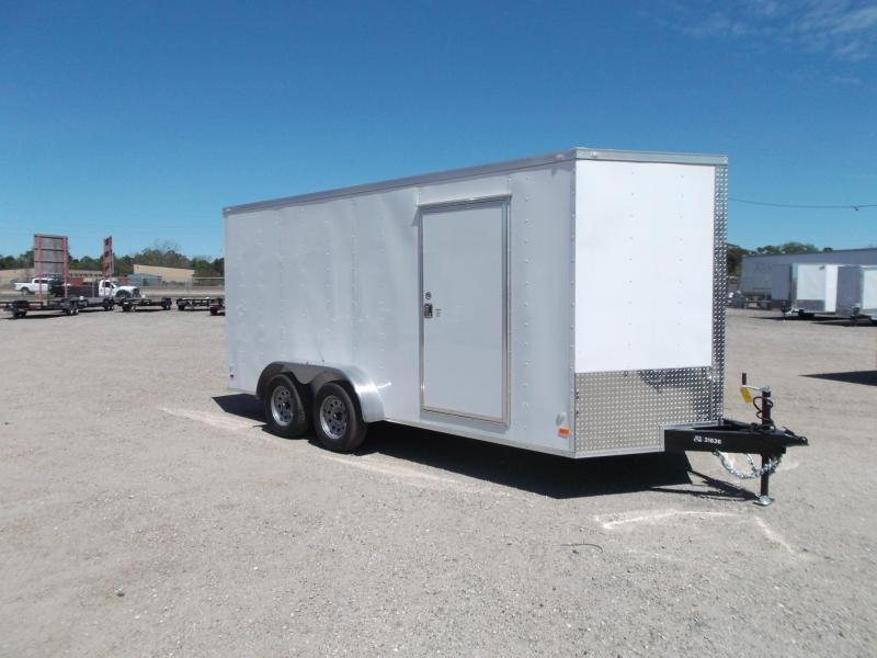 "SPECIAL - 2019 Covered Wagon Trailers 7x16 Tandem Axle Cargo Trailer / Enclosed Trailer / 6'6"" Interior / Ramp / LEDs"