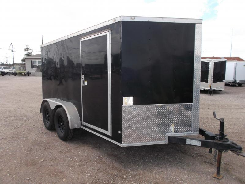 2016 Covered Wagon Trailers 7x12 Semi Low Hauler Motorcycle Trailer / Cargo Trailer / Ramp / RV Door / LEDs / D-Rings