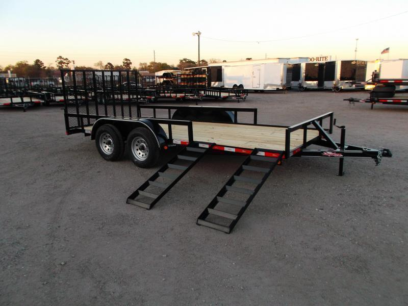 2019 Longhorn Trailers 16ft Utility Trailer / ATV Trailer w/ 4ft Rear Ramp Gate / 5ft Slide Out Side Ramps