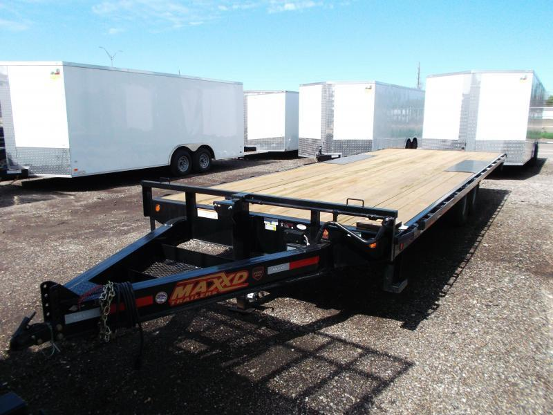 2019 Maxxd 96x24 14K Deckover / Flatbed Trailer / Equipment Hauler / Powder Coated / 7K Axles / LEDs