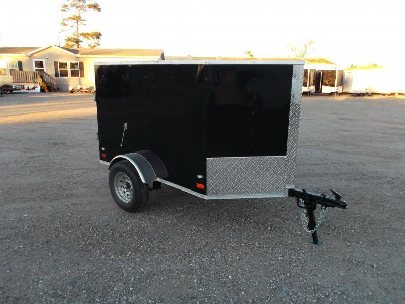 2018 Covered Wagon Trailers 4x6 Single Axle Cargo Trailer / Enclosed Trailer / Black / LEDs