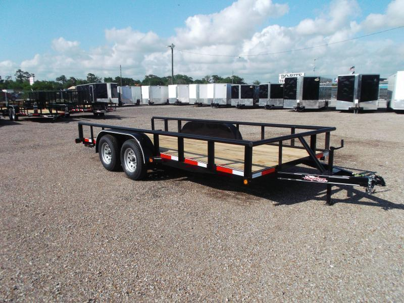 2018 Longhorn Trailers 16ft Utility Trailer w/ Pipetop / 5ft Stow Away Ramps / Brakes