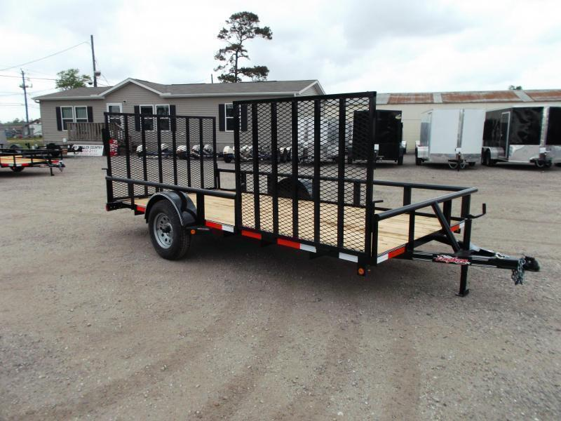 2018 Longhorn Trailers 83x14 Single Axle Utility Trailer w/ Pipetop / 4ft Heavy Duty Rear Ramp / Side Load Ramp Gate