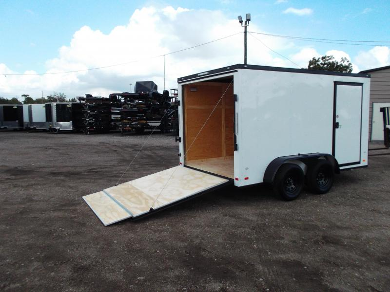 SPECIAL - 2019 Covered Wagon Trailers 7x12 Tandem Axle Motorcycle Trailer / Cargo Trailer / Black Out Package / V-Nose / Ramp / LEDs
