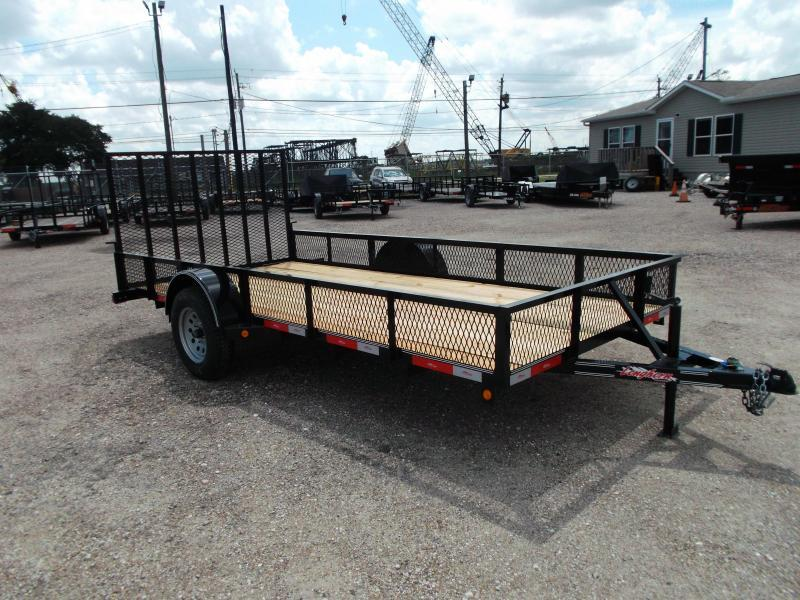 "2018 Longhorn Trailers 77x14 Single Axle Utility Trailer / Landscape Trailer w/ 15"" Expanded Metal Sides / 4ft Heavy Duty Ramp Gate"