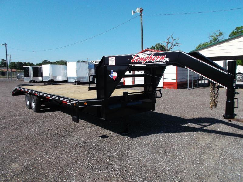 "102"" x 25' Longhorn Gooseneck Flatdeck w/ 5ft Dovetail & Spring Assisted Heavy Duty Ramps"
