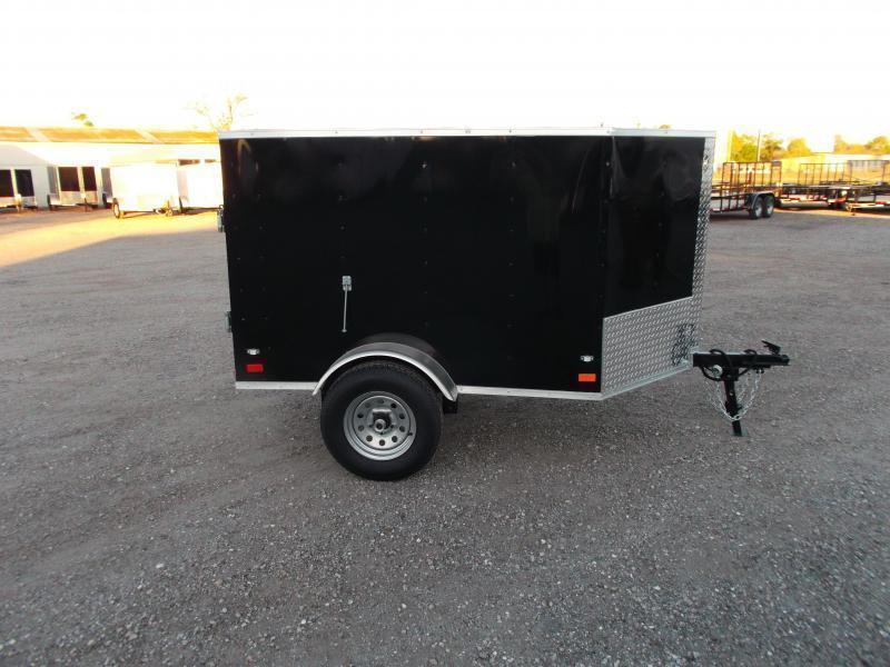 2019 Covered Wagon Trailers 4x6 Single Axle Cargo Trailer / Enclosed Trailer  / LEDs / CHARCOAL GREY
