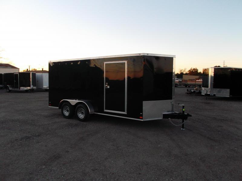 2018 Covered Wagon Trailers 7x16 Tandem Axle Cargo Trailer / Enclosed Trailer / Ramp / RV Side Door / LEDs