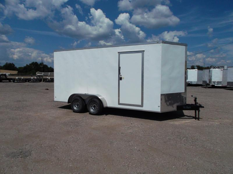 2019 Covered Wagon Trailers 7x16 Tandem Axle Cargo Trailer / Enclosed Trailer / 7ft Interior / Ramp / RV Door / LEDs