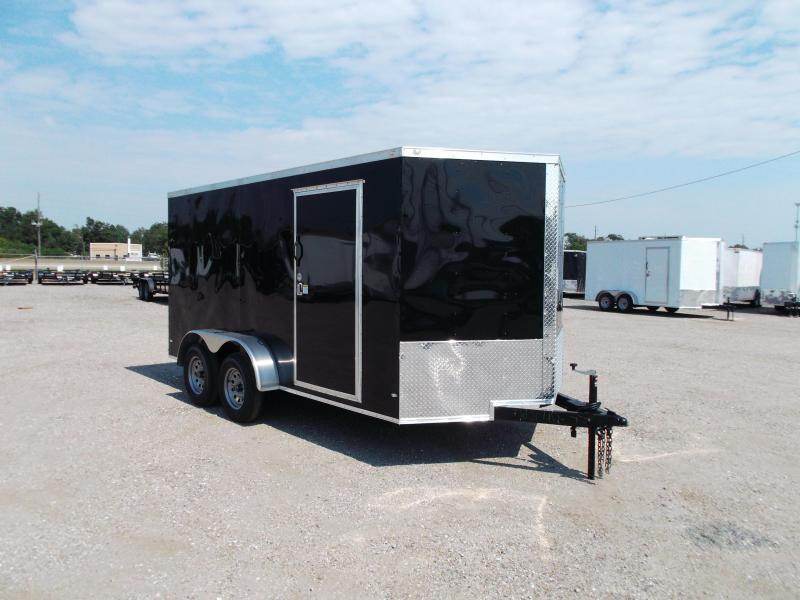 "2018 Covered Wagon Trailers 7x14 Tandem Axle Cargo Trailer / Enclosed Trailer / Ramp / 6'6"" Interior Height / RV Side Door / LEDs"