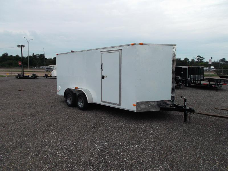 """2019 Covered Wagon Trailers 7x16 Tandem Axle Cargo Trailer / Enclosed Trailer / 6'6"""" Interior Height / Ramp / RV Side Door"""