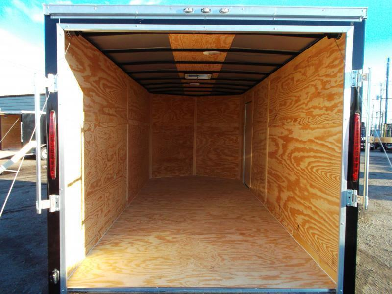 """2019 Texas Select 7x16 Tandem Axle Cargo Trailer / Enclosed Trailer / Ramp / 6'6"""" Interior Height / Side Door / LEDs"""