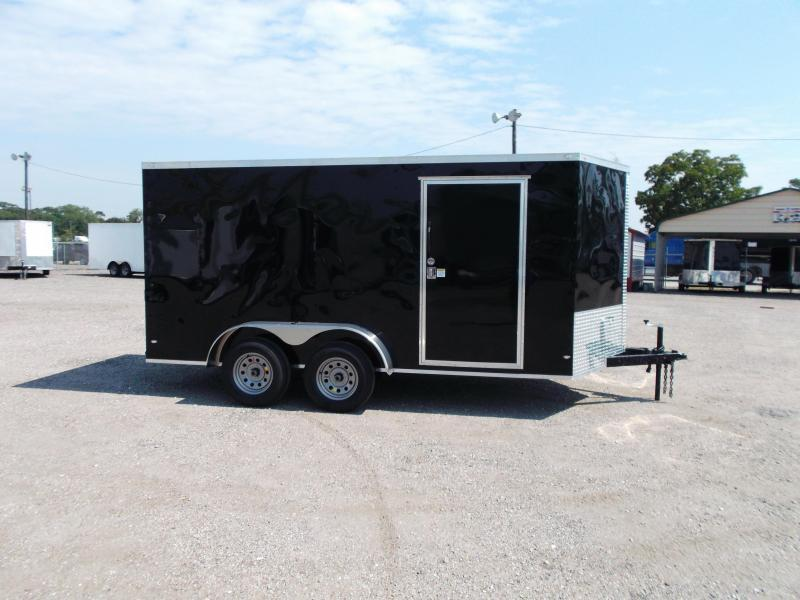 "2019 Covered Wagon Trailers 7x14 Tandem Axle Cargo Trailer / Enclosed Trailer / Ramp / 6'6"" Interior Height / RV Side Door / LEDs"