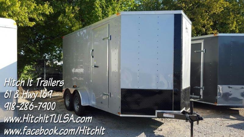 Lark 7x16 V-nose Enclosed Cargo Trailer Rear Ramp