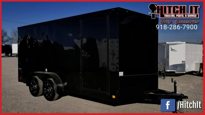 Midnight Black Out  7 x 16 + v-nose  Enclosed Cargo Trailer