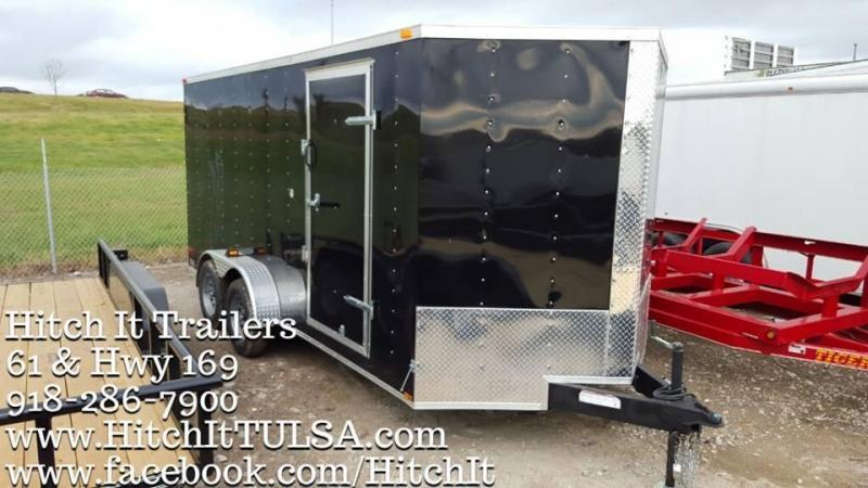 7 x 16 Black V-nose Enclosed Cargo Trailer