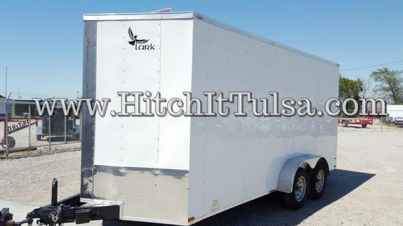 Lark 7x16 Enclosed Cargo Trailer V-Nose Rear Cargo Doors