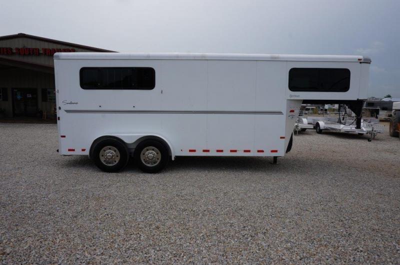 2011 Sundowner 3 Horse Slant Gooseneck Utility Flatbed