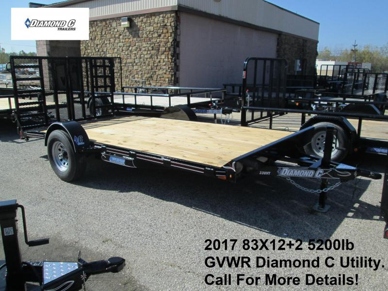 "2017 83"" X 12'+2' Diamond C 5K Utility Trailer. 93371"