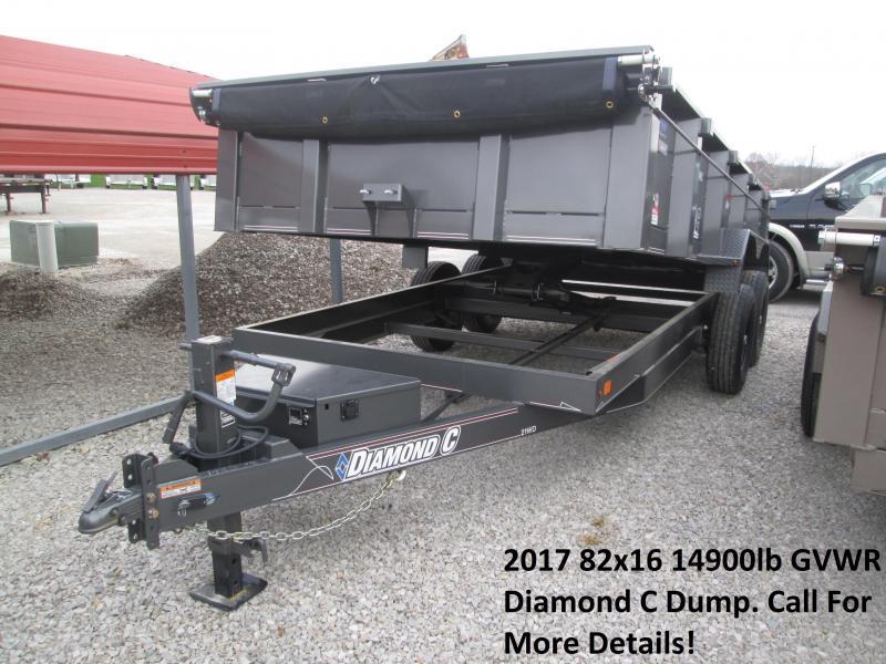 "2017 82"" x 16' 14900lb GVWR Diamond C Dump Trailer. 93378"