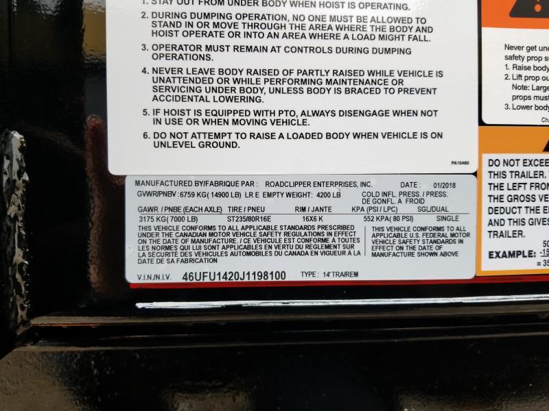 2018 Diamond C 14' 14900 lb GVWR Dump trailer. 98100