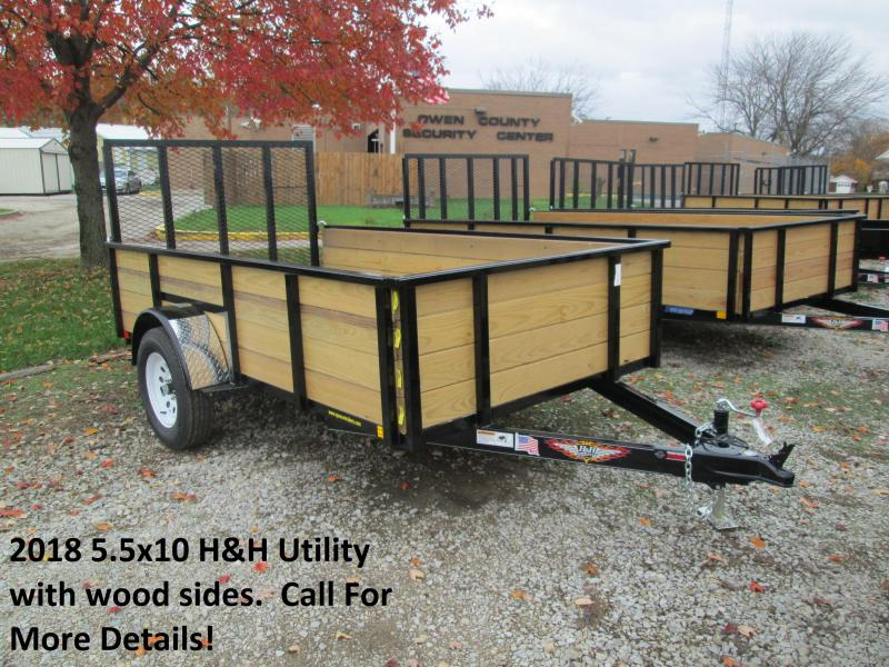 2018 5.5' x 10' H&H Wood Sided Utility. 00141