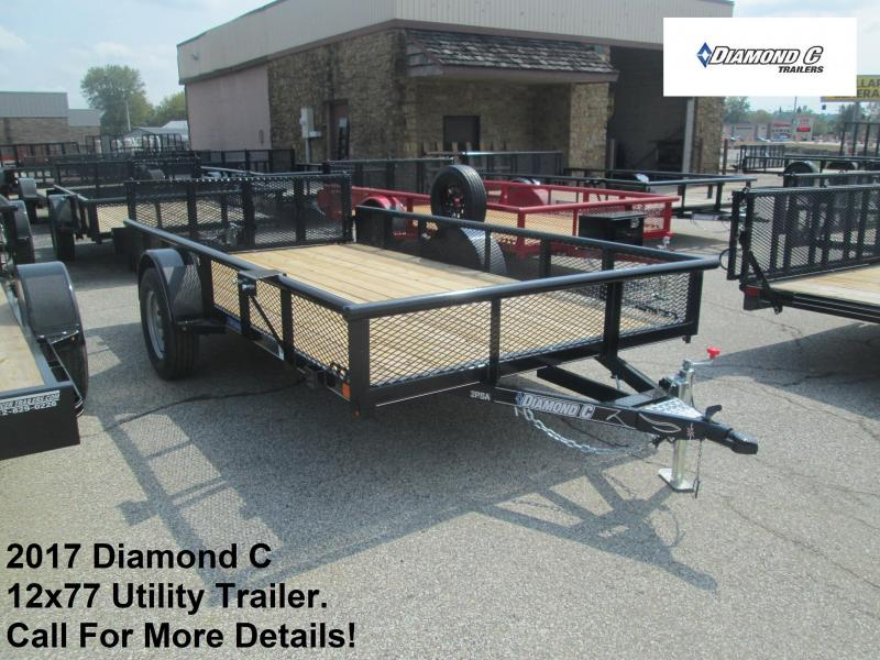 "2017 Diamond C 77"" x 12' Utility Trailer. 92305"