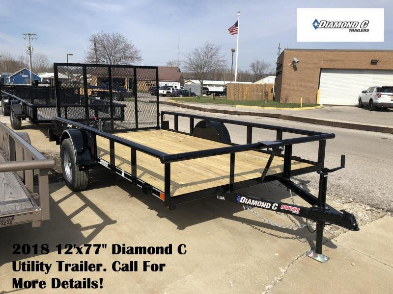 "2018 12'x77"" Diamond C Utility Trailer. 99491"