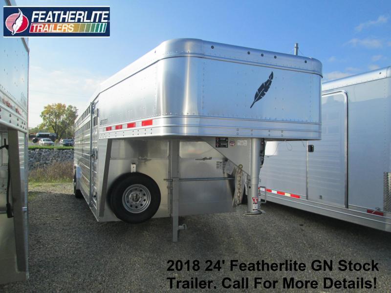2018 24' 18k GVWR Featherlite GN Stock Trailer. 147739