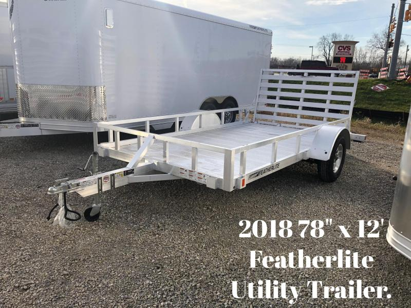 "2018 78"" x 12' Featherlite Utility Trailer. 147880"