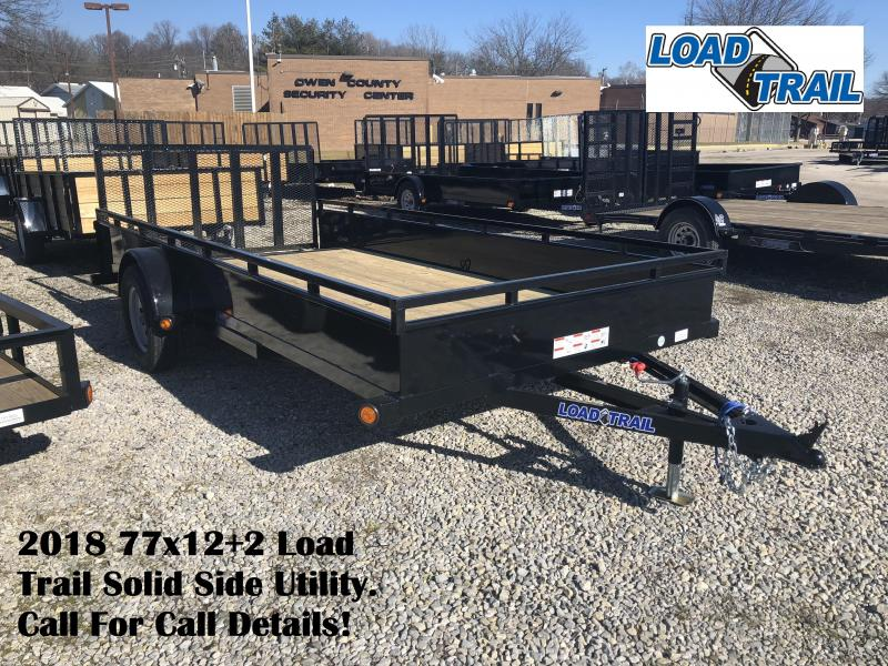 2018 77x12+2 Load Trail Solid Side Utility. 56034