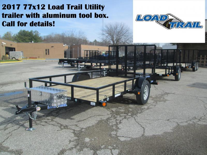 2017 77x12 Load Trail Single Axle Utility with aluminum toolbox.  25417