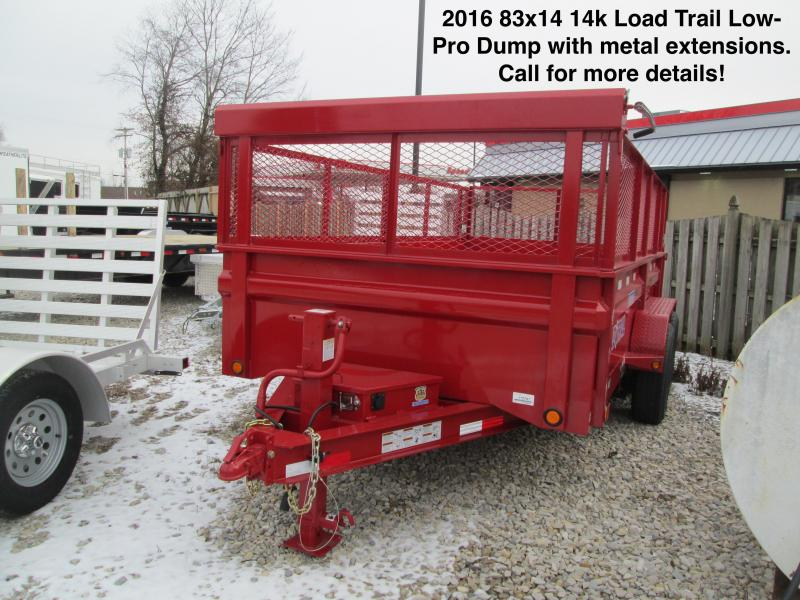2016 83x14 14k Load Trail Low-Pro Dump with metal extensions. 16747